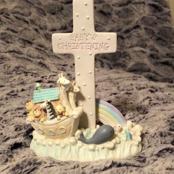 Noah's Menagerie Baby's Christening Cross Figurine